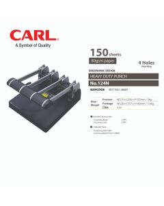 CARL Punch Heavy Duty - 4 Holes (150 sheets) 124N