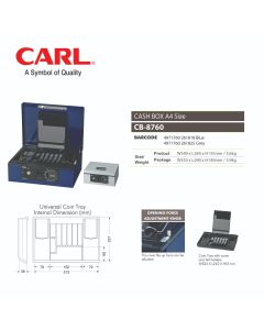 "CASH BOX 14""(349MM) - KEY LOCK W/PASSWORD DIAL CB-8760"